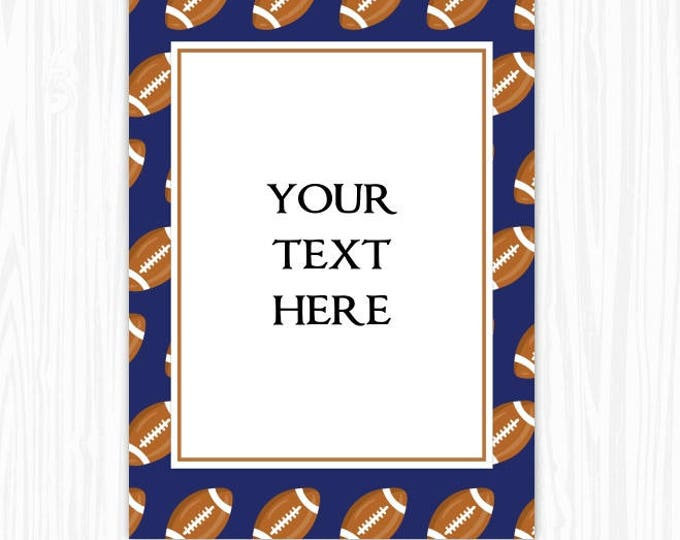 5x7 Football BLANK Sign, Printable Sign or Invite, Birthday or Shower, Editable Sign or Invitation, INSTANT Download