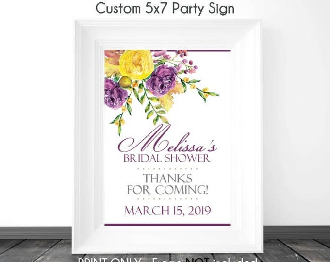 CUSTOM Purple and Yellow Rose Watercolor Bridal Shower Sign, Printable Sign, DIY Sign, Baby Shower or Wedding Shower, 5x7 OR 8x10
