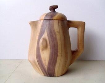 Vallauris coffee pot , Faux bois pottery by Grandjean Jourdan 1950s