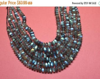 40%OFF AAAA 10 Inches 6-10mm-Deep Blue Flash Labradorite Faceted Rondelle Beads Strand