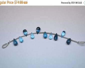 40%DIS 9mm-10 Beads Amazing AAA Quality Natural London&Swiss Blue Topaz MicroFaceted Teardrops Shape Briolette Beads
