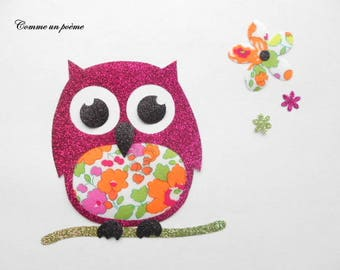 Applied fusible OWL liberty betsy orange and fuchsia