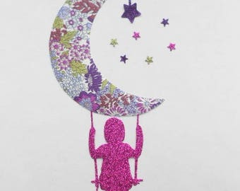 Applique girl, liberty Moon and star purple seconds