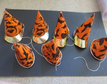 7 Vintage 1940s Orange Black  Gold Paper Halloween Party Hat Hats Moon Witches Broomsticks