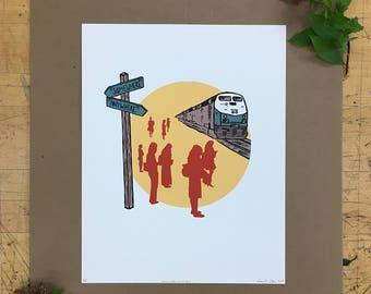 Somewhere, Anywhere Print - Hand Pulled Screen Print