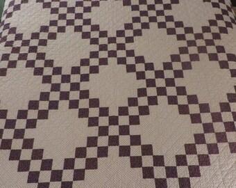 Quilt Antique  //  Double Irish Chain Pattern  //  Plum and Black Polka Dots  //  2 Color Quilt  //  Vintage Quilt  //  Full Double Size