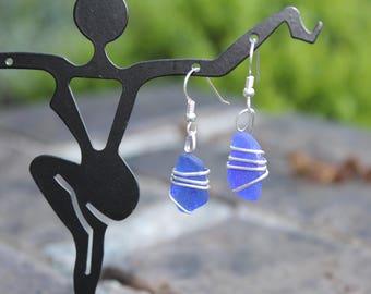 Sea Glass Earrings - Cobalt Blue Sterling Silver Wrapped Pierced