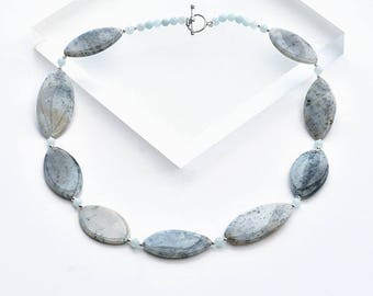 Agate Jewellery, Ice Blue Agate Necklace, Silver and Grey Chunky Necklace in Agate, Ice Blue Agate Jewelry, Oval Agate Necklace Gift for Her