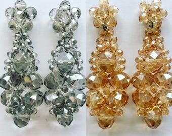 Earring.  Aros.  Crystal earring.  Aros en cristal. Handmade earring. Wedding. Bridal. Elegant.