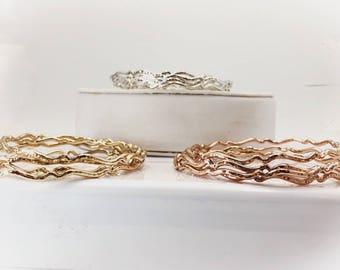 Bangle- Rose gold bangle- gold bangle- thin bangle - hammered texture - hammered bangle- textured bangle