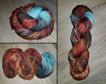 Hand dyed Sparkle Sock Yarn - 4oz fingering weight 409 yards- Superwash Merino Stellina Lurex-  knitting crocheting yarn - brown spatter