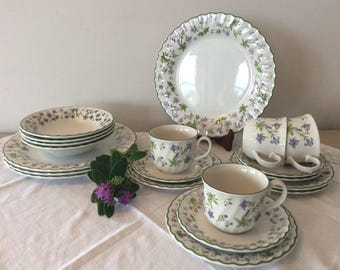 Beautiful Stafford Dinner & Tea Service For Four persons Violet Floral pattern
