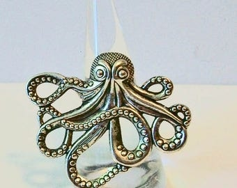 Extra Large Trendy Aged Silver Octopus Fashion Ring Adjustable Band