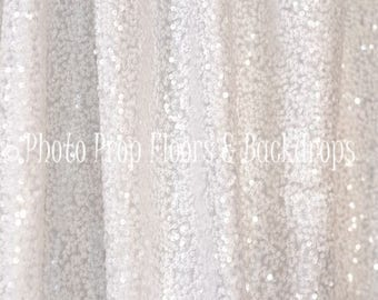 White Sequin Fabric Photography Backdrop, Wedding, Photo Booth, Party, Shower, Background, Studio, Sparkle