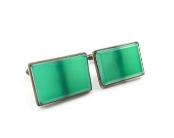 Vintage Art Deco Cuff Links, Green Glass