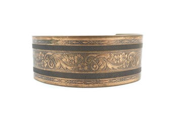 Vintage Flower Print Cuff Bracelet, Copper Tone