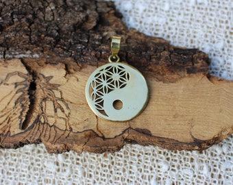 Yin-Yang Pendant, Flower of Life, 3D Brass Pendant, Spiritual Jewelry, Tribal Brass Pendant, Sacred Geometry, Pendentif Laiton Fleur de Vie