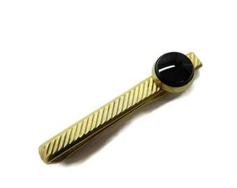 ON SALE! Krementz Tie Clip, Vintage Onyx Gold Tone Tie Bar, Tie Clasp, Men's Suit Accessory Gift Idea