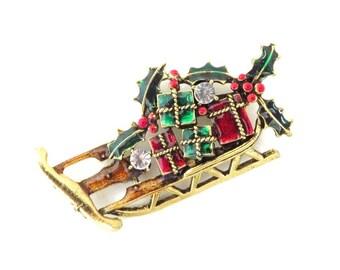 Weiss Sleigh Brooch, Xmas Gift Brooch, Rhinestone Sleigh Pin, Gift Laden Holiday Brooch, Santa's Sleigh Pin