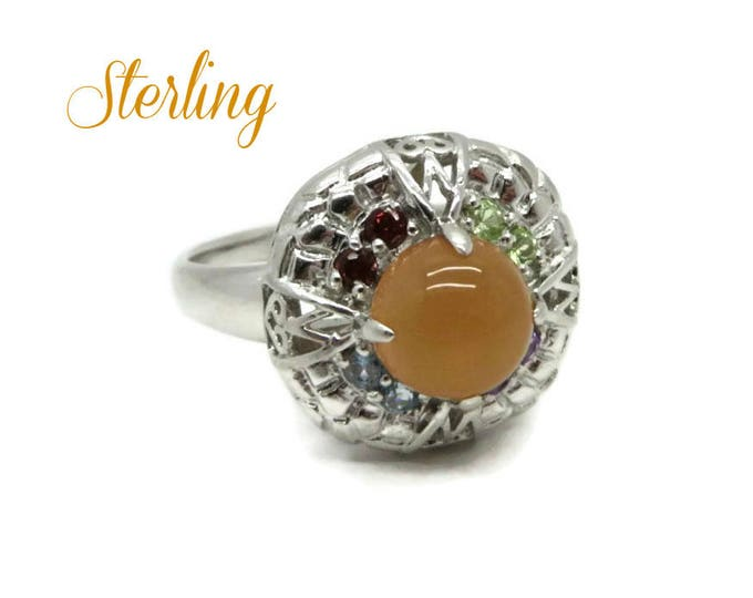 Sterling Silver Cocktail Ring - Vintage Orange Cabochon Ring, Size 11, Gift for Her