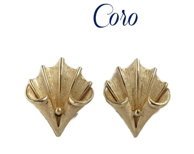 Coro Leaf Earrings, Vintage Clip-ons, Matte Gold Signed Designer Jewelry, Gift for Her, Gift Box, FREE SHIPPING