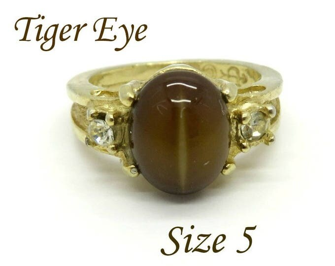 Tiger Eye - Vintage Uncas Gold Plated Tiger Eye Ring, Size 5, Gift for Her, Gift Box, FREE SHIPPING