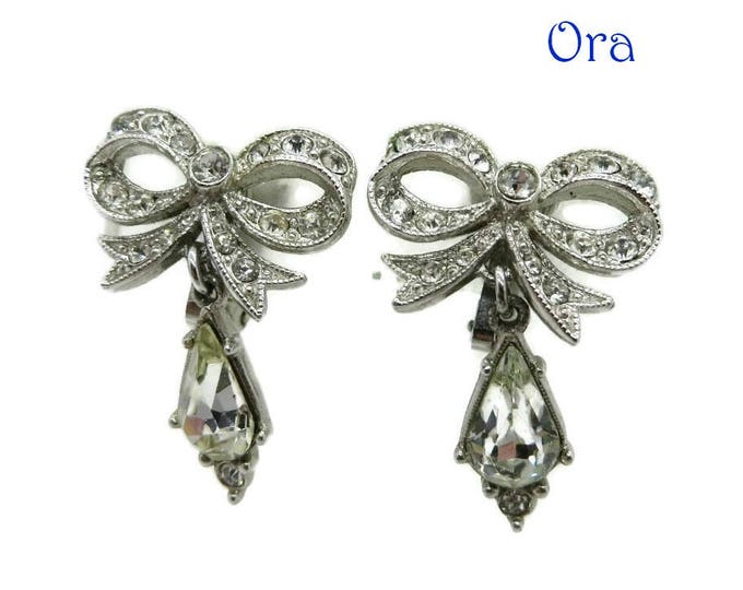 Rhinestone Bow Earrings - Vintage Signed ORA Crystal Dangle Clip-on Earrings, Bridal Jewelry, Valentine's Day Gift