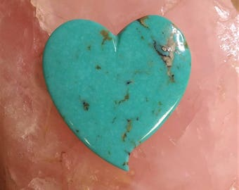 Blue Morenci Large Heart Cabochon/ backed