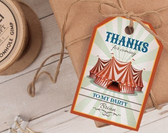 Circus Favor Tag, Circus Thank You Tag, Carnival Favor Tag, Carnival Thank You Tag INSTANT DOWNLOAD you personalize at home