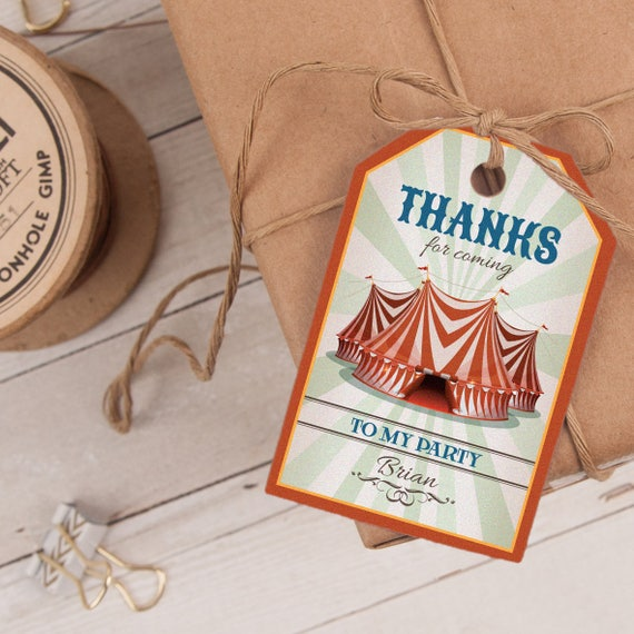Circus Favor Tag INSTANT DOWNLOAD
