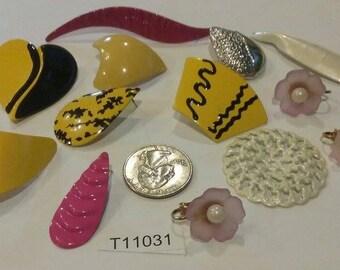 Vintage Finding Lot,  Mixed media lot, Repair, Repurpose, pendants, charms, rhinestones, Destash lot, finding lot, T11031