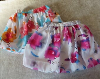Balloon skirt in colors of spring for little girls (2 years)