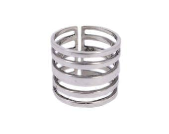 """Ring graphic high """"Partition"""" cut out of Silver 925/1000"""