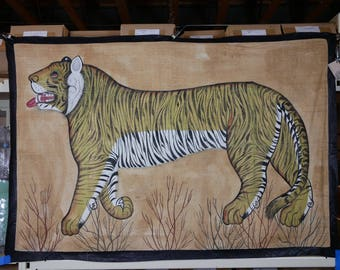Painting on Cotton of a Bengal Tiger