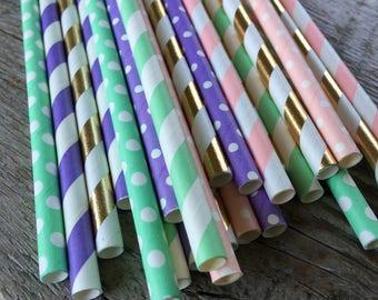 BE A Unicorn straw pack Rainbow birthday party unicorn Shower 24 Paper striped chevron polka dotted stripes paper straws mint lavendar pink