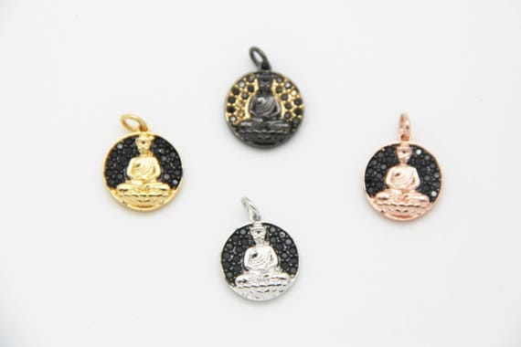 Black CZ Micro Pave 14mm Buddha  Charm with Jump Ring