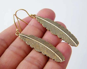 Brass Feather Earrings, Feather Charm Earrings, Feather Dangle Earrings, Brass Earring, Gypsy Earrings, Tribal Earrings SH-4893