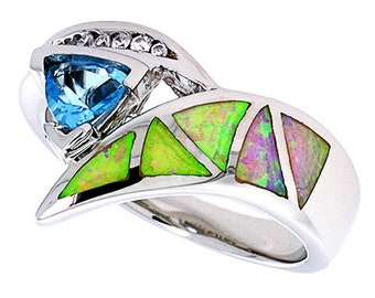 Women Sterling Silver Rhodium Plated Pink Simulated Opal Ring Light Blue 14mm(DCTopr77p)