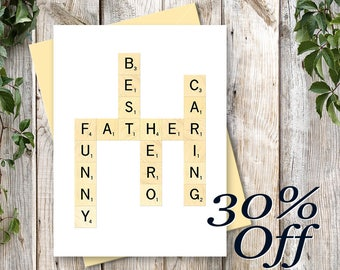 Father's Day Printable Card - Scrabble Card For Dad - Printable Art - INSTANT DOWNLOAD - Digital Card - DAD Scrabble Art for Scrabble Lovers