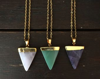 Triangle Crystal necklace, Triangle stone necklace, crystal pendant, triangle pendant, stone triangle necklace, crystal triangle necklace