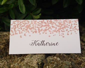 Personalised Wedding Table Place Name Seating Cards Light Rose Gold Confetti