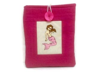 Mermaid gifts, Ipad mini 2 case, embroidery gifts, tablet case, tech accessories, kindle case, kindle sleeve, mermaid tail, pink fabric,