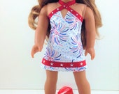 """18T Holiday Wear - Fourth of July Dress and Sandals for 18"""" Dolls Like American Girl (R)  Lea, Grace, Tenney, McKenna, Saige, Julie & Kit"""