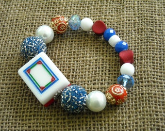 Red White and Blue Mahjong Tile Bracelet - Jesse James Beads Jewelry - Mahjong Jewelry