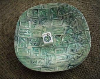 Mahjong Bowl - Blue Mahjong Pottery - Large Mahjong Bowl - Oriental Dish - Oriental Pottery - Chinese Pottery - Gift Idea - Mahjong Dish