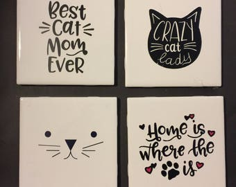Custom 4pc Coaster Set - Cat Lover