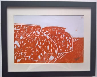 The Good Loaf (Orange) A4 Linocut Print