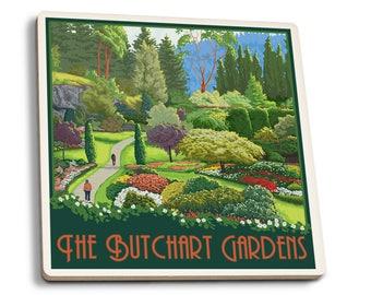 Brentwood Bay, Canada Butchart Gardens LP Artwork (Set of 4 Ceramic Coasters)