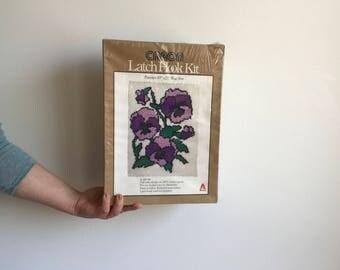 Vintage Purple Pansies Latch Hook Kit