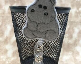 Baby Hippo felt badge reel, name badge holder, nurse badge, ID holder, badge reel, retractable badge clip, feltie badge reel